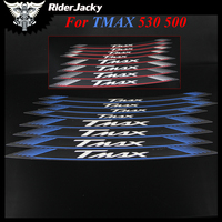 RiderJacky TMAX logo MOTORCYCLE Rim Strips Wheel Stickers Decals For YAMAHA TMAX T MAX 530 500