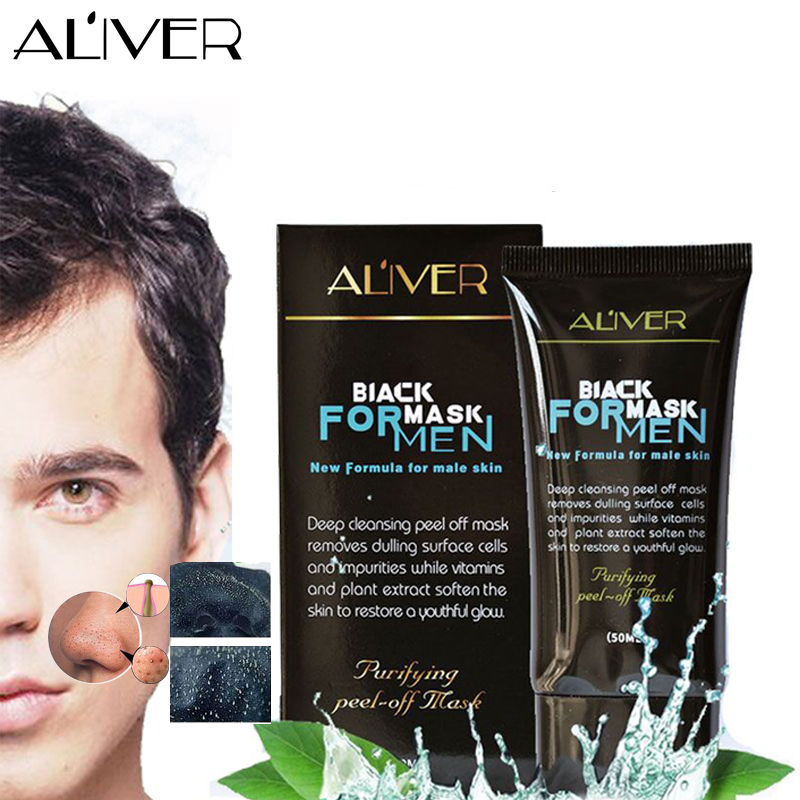 ALIVER Purifying Blackhead Remover Peel-Off Facial Cleaning Black Mask For men Face Skin Care dr rashel hot selling black mud magnetic face mask skin care collagen blackhead remover magnet facial mask