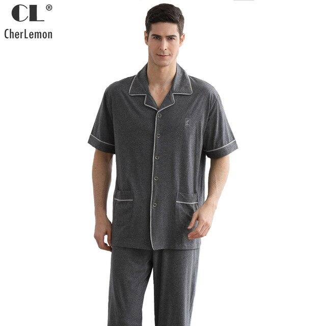 zapatos exclusivos a bajo precio barata marcas reconocidas Pijama gris de 100% algodón cherremon ropa dormir para hombre manga corta  botón Arriba y pantalones largos Conjunto talla grande masculino