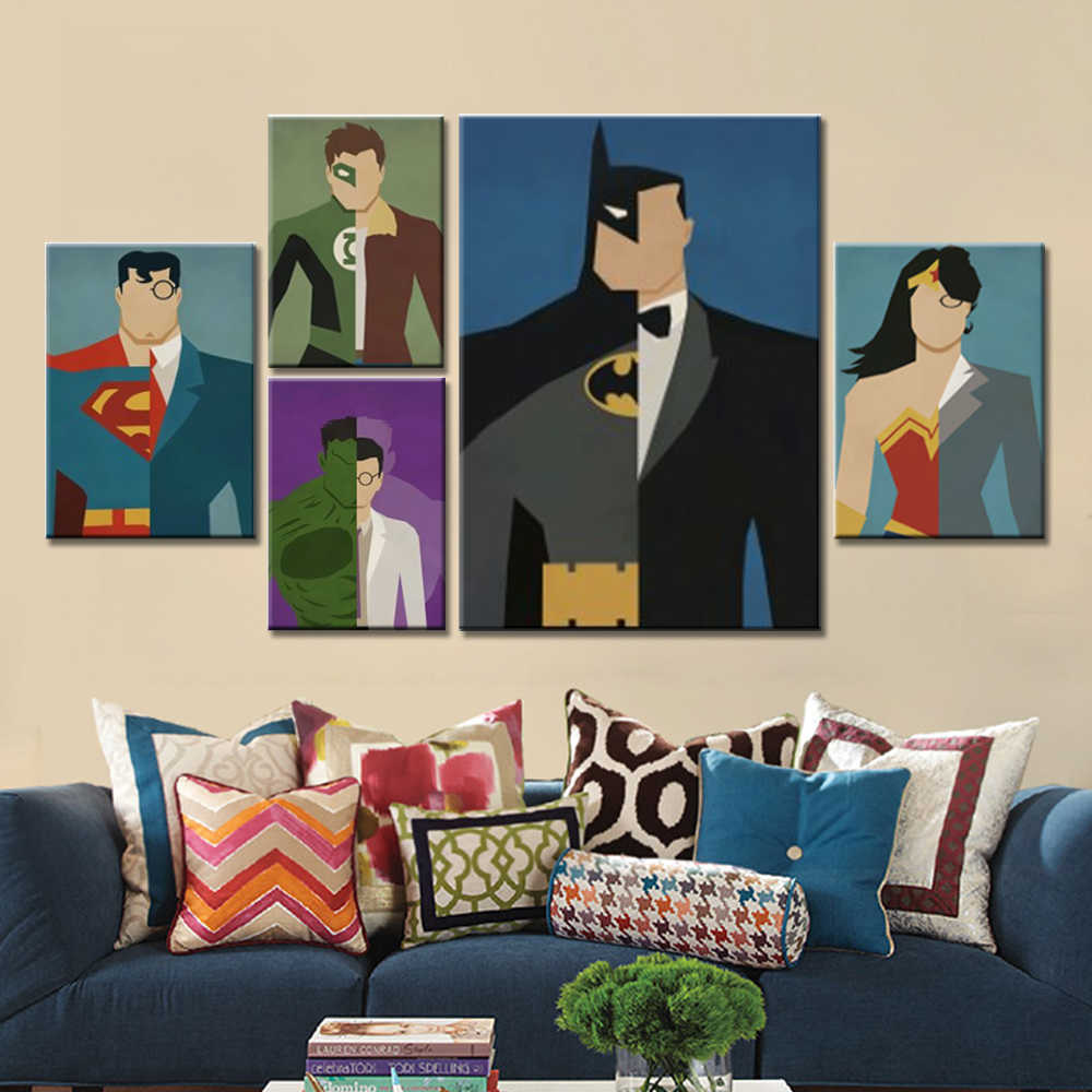 Super Hero Decoration Painting Home Decor on Canvas Modern Wall Art Canvas Print Poster Canvas Painting for Kids Room