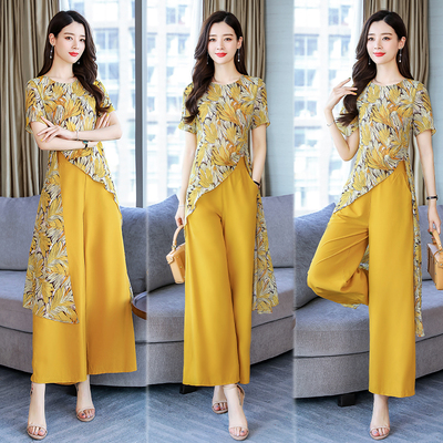 Summer Chiffon Printed Two Piece Sets Women Short Sleeve Long Blouses And Wide Leg Pants Suits