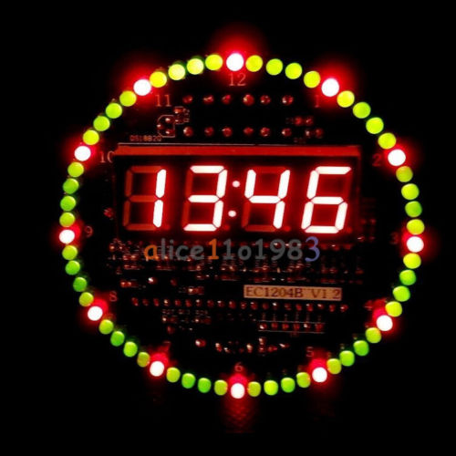 DIY DS1302 Rotating LED Electronic Digital Clock Kit 51 SCM Learning Board 5V electronic diy kit led display module
