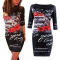 Старинные Цветок Печати 2016 Vestidos Половина Рукавом Длиной До Колен Оболочка Bodycon Карандаш Черный Dress Woman Clothes