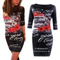 Flor de la vendimia de impresión 2016 vestidos media manga longitud de la rodilla bodycon vaina lápiz negro dress mujer ropa