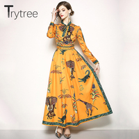 Trytree Spring Summer Dress Elegant A line women Bow Neck Animal Printing dresses Ankle Length Casual Polyester Orange Dress