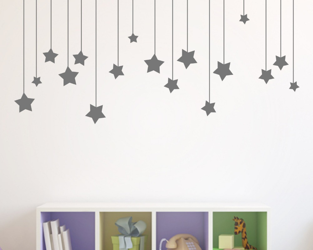 17pcs hanging stars wall stickers for kids room white star baby 17pcs hanging stars wall stickers for kids room white star baby nursery wall decals diy vinyl wall art home decor mural d858 in wall stickers from home amipublicfo Choice Image