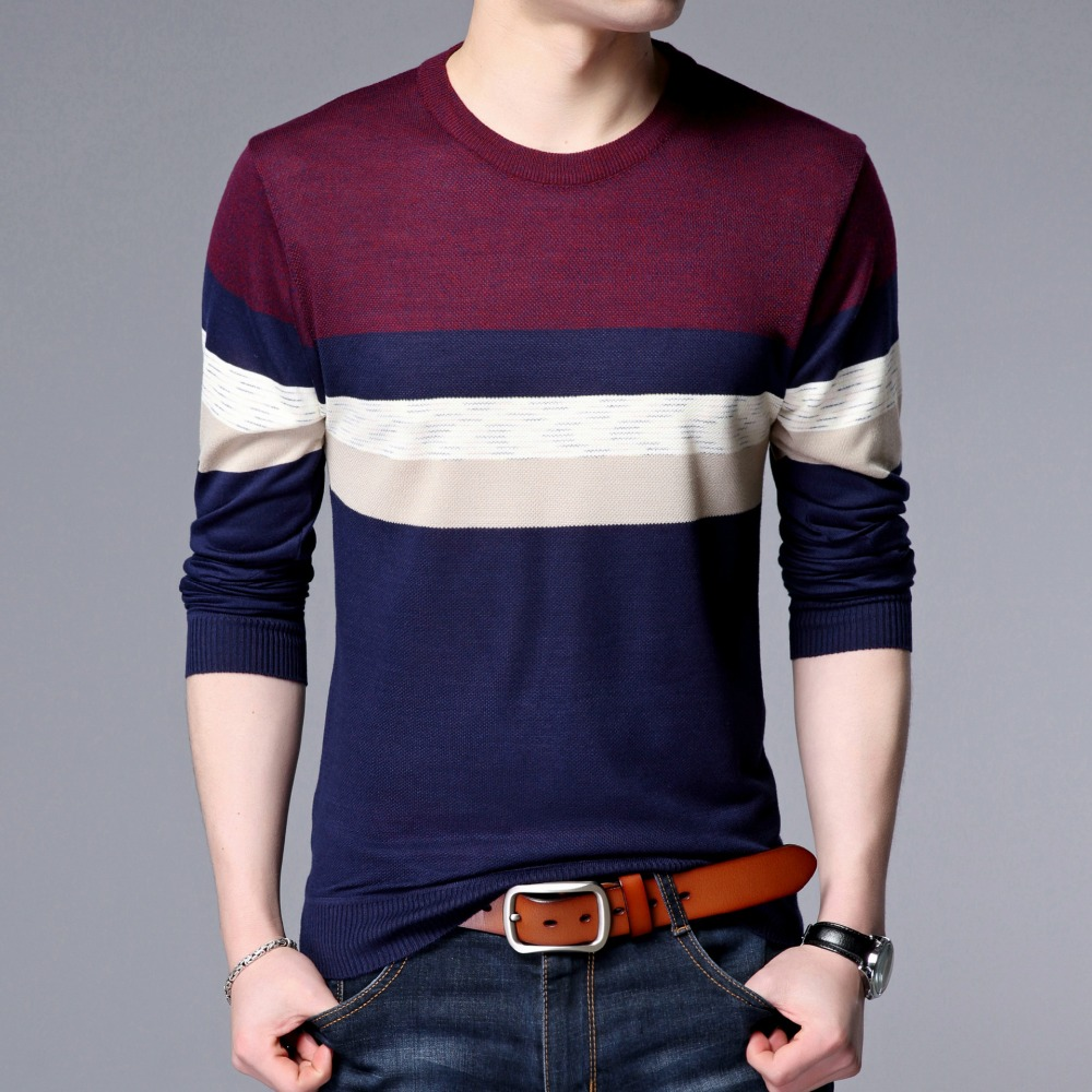 2018 New Autumn Fashion Brand Casual Sweater Men O-Neck Striped Knitting Pullover Men Slim Fit Mens Sweaters And Pullovers