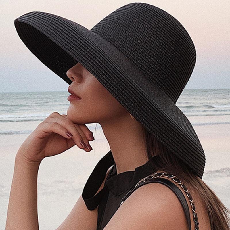 HT2303 2019 New Summer Sun Hats Ladies Solid Plain Elegant Wide Brim Hat Female Round Top Panama Floppy Straw Beach Hat Women