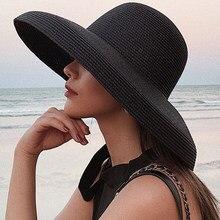 HT2303 2020 New Summer Sun Hats Ladies Solid Plain Elegant Wide Brim Hat Female Round Top Panama Floppy Straw Beach Hat Women