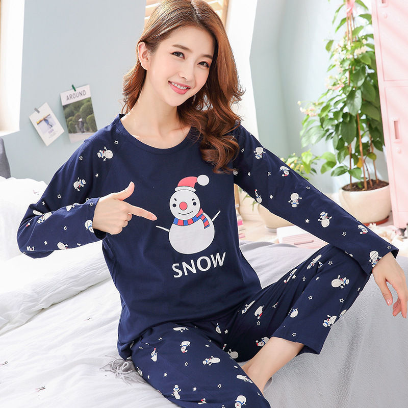 2018 New Knitted cotton   pajamas     set   women summer and autumn long sleeved sleepwear suit Korean leisure round collar home clothes