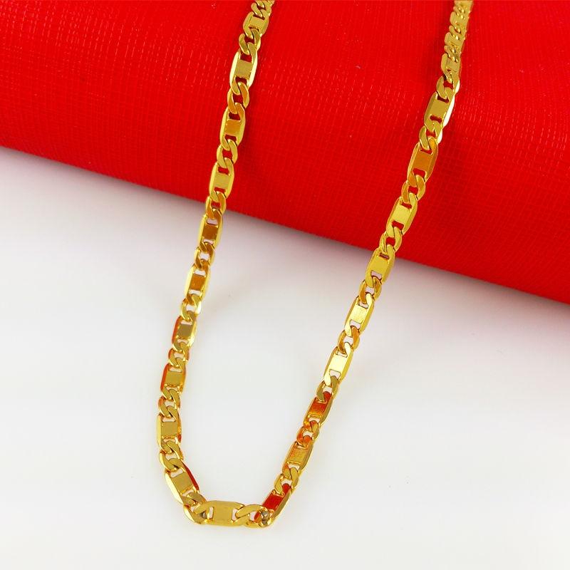 New Fashion Vacuum Plating 24K Gold Women/Men 46/50cm Necklace ...