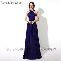 Multipurpose Navy Blue Bridesmaid Dresses 2016 Abendkleider New Pleated Halter Long Evening Dress Vestidos De Noche