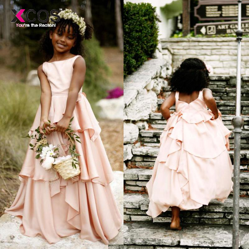 Bohemian Style Blush Pink   Flower     Girl     Dresses   For Weddings Cheap Backless Tiered Ruffles Floor Length Formal Pageant   Dress