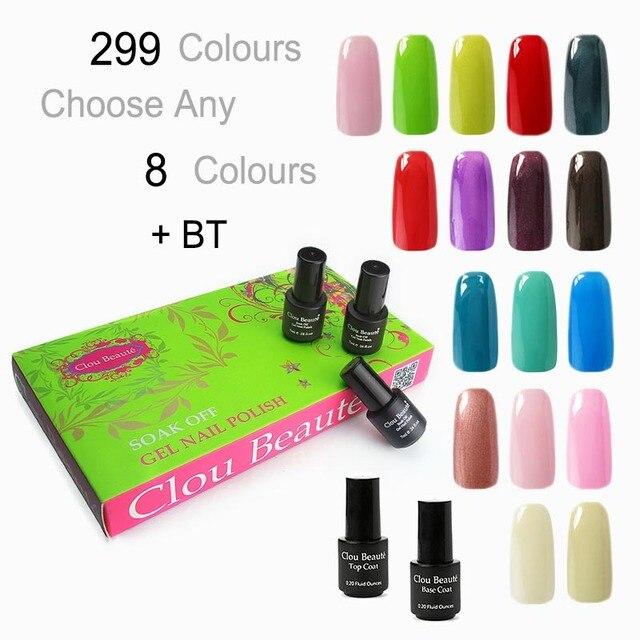 Clou Beaute 299 Colores (SONP Cualquier 8 Colores 7 ml + Base Top ...