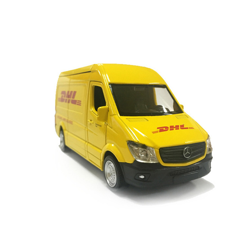 Truck DHL 1:36 Simulation Toy Vehicles Alloy Pull Back Mini <font><b>Car</b></font> Replica Authorized By The Original Factory <font><b>Model</b></font> Toy Collection image