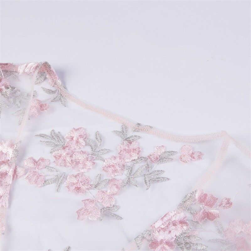 Vrouwen Blouse Zomer See-through Sheer Mesh Visnet Lange Mouw Dames Tops Blouse Tee Tops Blouses Vrouw 2019 bloemen Shirt