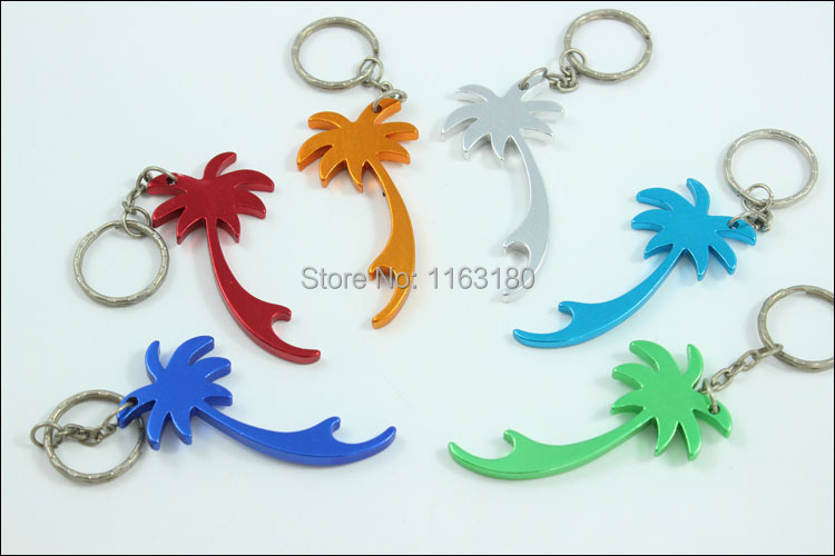 72pcs lot palm tree shape keychains beer can bottle opener key ring promotion gift free shipping