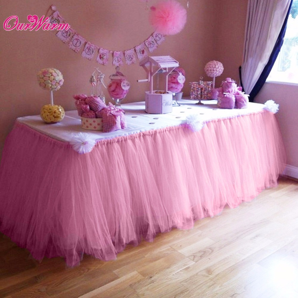 OurWarm Many Tulle Tutu Table Skirt Tulle Tableware for Wedding ...