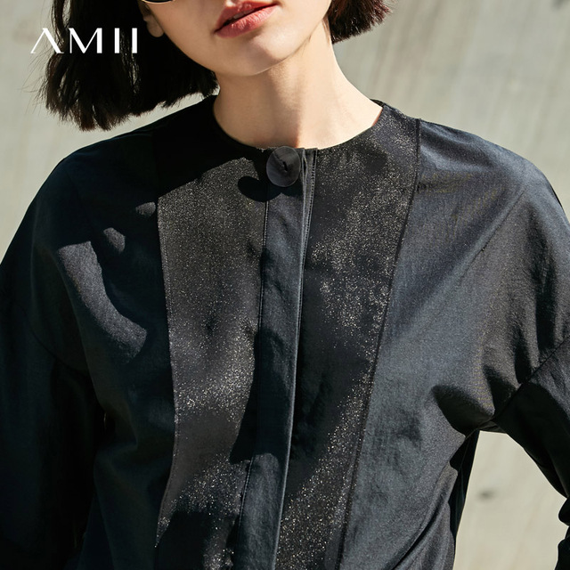 Amii Casual Women Blouse 2017 Solid Splice O-Neck Long Sleeve Button Down Blouses