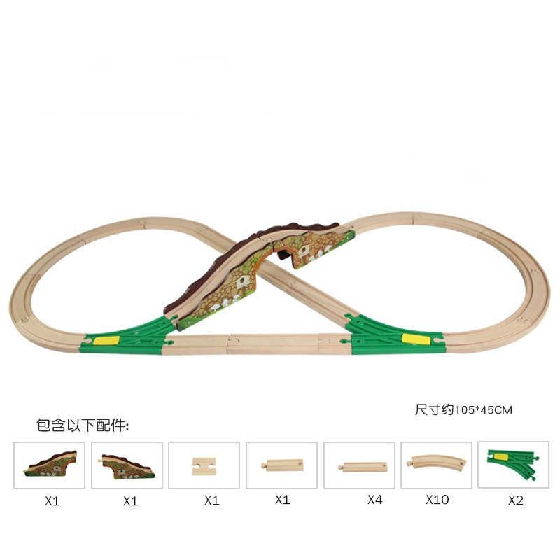 Деревянный трек поезд набор Т-homas железнодорожные дорожки аксессуары-расширение деревянные рельсы дорога веселые игрушки для детей