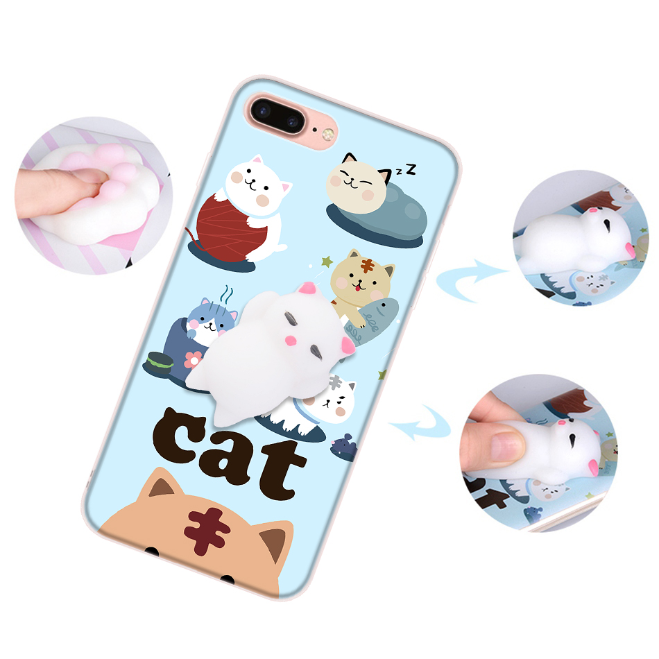 Squishy 3d cat phone case - Online Shop Squishy 3d Cat Phone Cases For Iphone 7 Case Anti Stress Soft Claw Silicone Gel Cover For Iphone 7 Plus Cute Toys Animal Coque Aliexpress