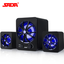 SADA Built-in Colorful LED Wired Mini Portable Combination speaker Laptop computer mobile Column computer speaker USB 2.1 Bass