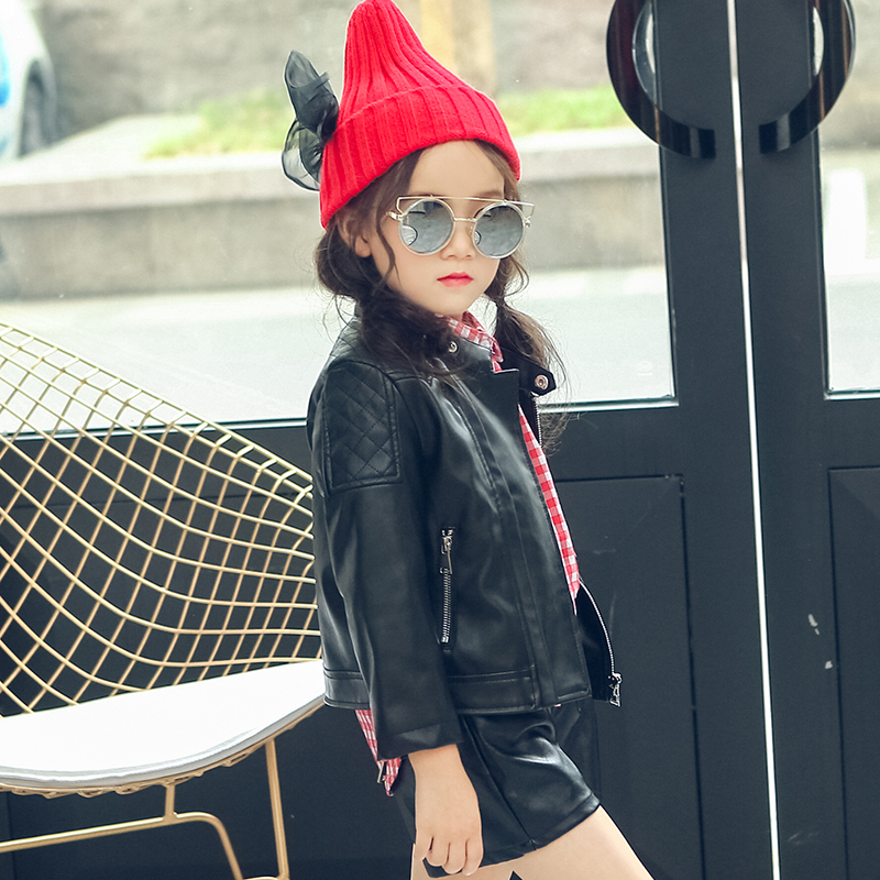 2017 autumn winter hot children PU jacket, 2-7 year old girl Fashion Shoulder Embroidered Leather Motorcycle Leather Jacket