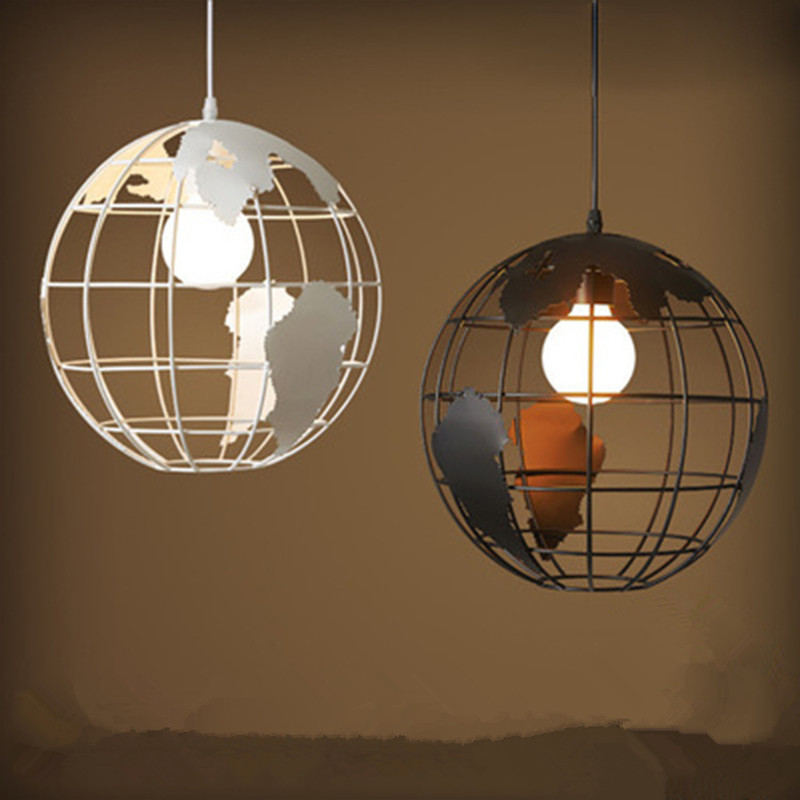 Simple American Country Restaurant Chandeliers Creative Bar Study Globe Decoration Lamp Wrought Iron Round Light Free Shipping wrought iron chandelier island country vintage style chandeliers flush mount painting lighting fixture lamp empress chandeliers