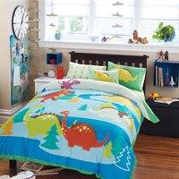 Cute Cartoon Animal Pattern Children Room Duvet Cover Sheet Set 100 Cotton Reactive Printing Dinosaur Pattern