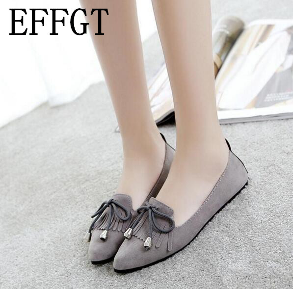 EFFGT new fashion women shoes sweet bowknot pointed toe flat shoes women casual shoes doudou Hollow out shoes free shipping C162