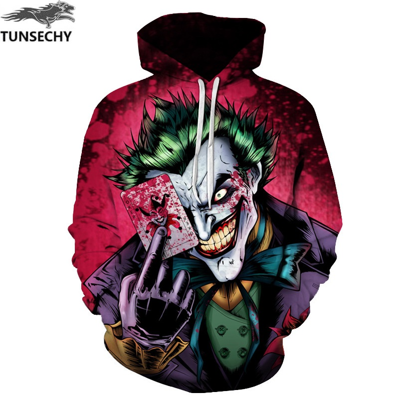 TUNSECHY New Sweatshirts Men Brand Hoodies Men Joker 3D Printing Hoodie Male Casual Tracksuits Size S-XXXL Wholesale and retail hoodie