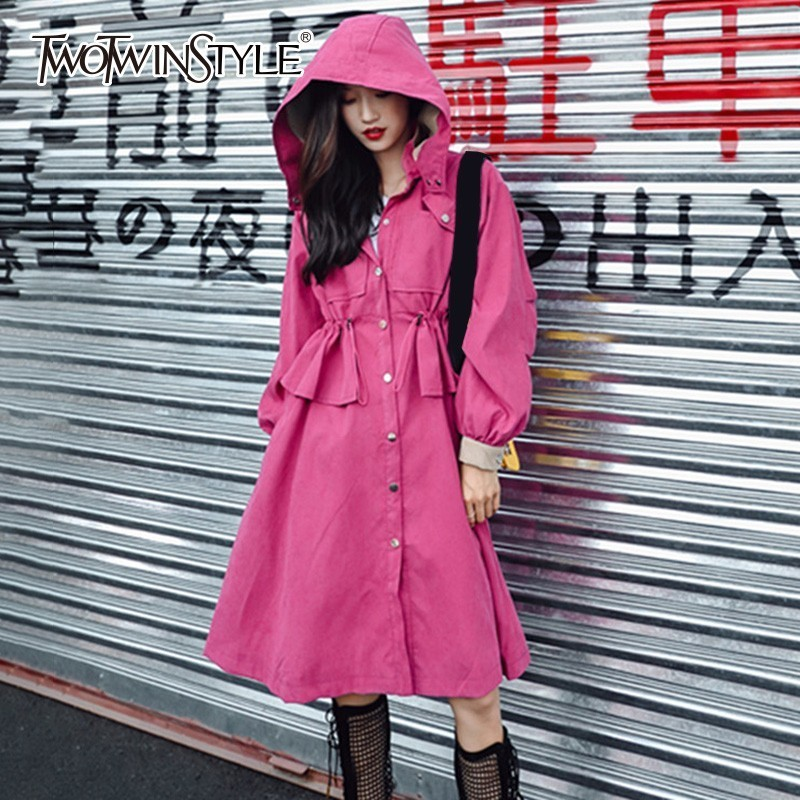 TWOTWINSTYLE Hoodies Women's Windbreaker Coat Lace Up Ruffle High Waist   Trench   Female Spring Autumn Fashion Clothes Korean 2018