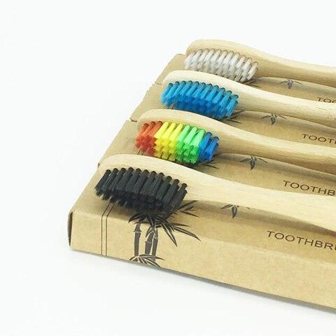 Amigável de Madeira Escova de Dentes de Bambu Peças Lote Bambu Cuidados Odontológicos Cerda Macia Eco Língua Raspador Uso Diário 100 –