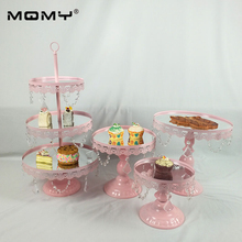 4 PCS Golden Silver Pink Acrylic Mirror Metal Cake Stand Dessert Wedding Party Display Pedestal