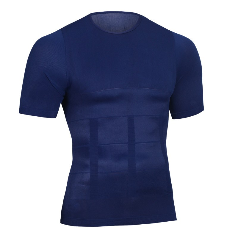 Men Shapers Summer Solid Compression T Shirt Firm Tummy Belly Buster Vest Control Slimming Body Shaper Underwear Shirt