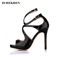 Patent Leather High Heel Sandals Summer Open Toe Office Shoes Ladies Cross Strap Thin Heel Party