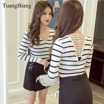 2018 Backless Lace up V-Neck Women Pullovers Sweater Casual Black White Striped Sweaters Long Sleeve Slim Sexy Ladies Sweaters
