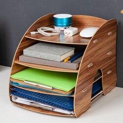 Cor de madeira organizador de mesa de escritório diy documento arquivo gabinete multifuncional acessórios de mesa armazenamento revista livro prateleira