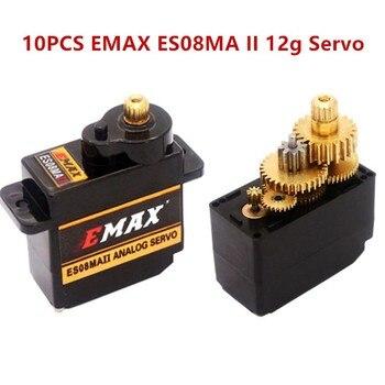 10PCS EMAX ES08MA II 12g Mini Metal Gear Analog Servo Metal Gear Servos for Futaba / JR Universal Plug for RC Model Helicopter