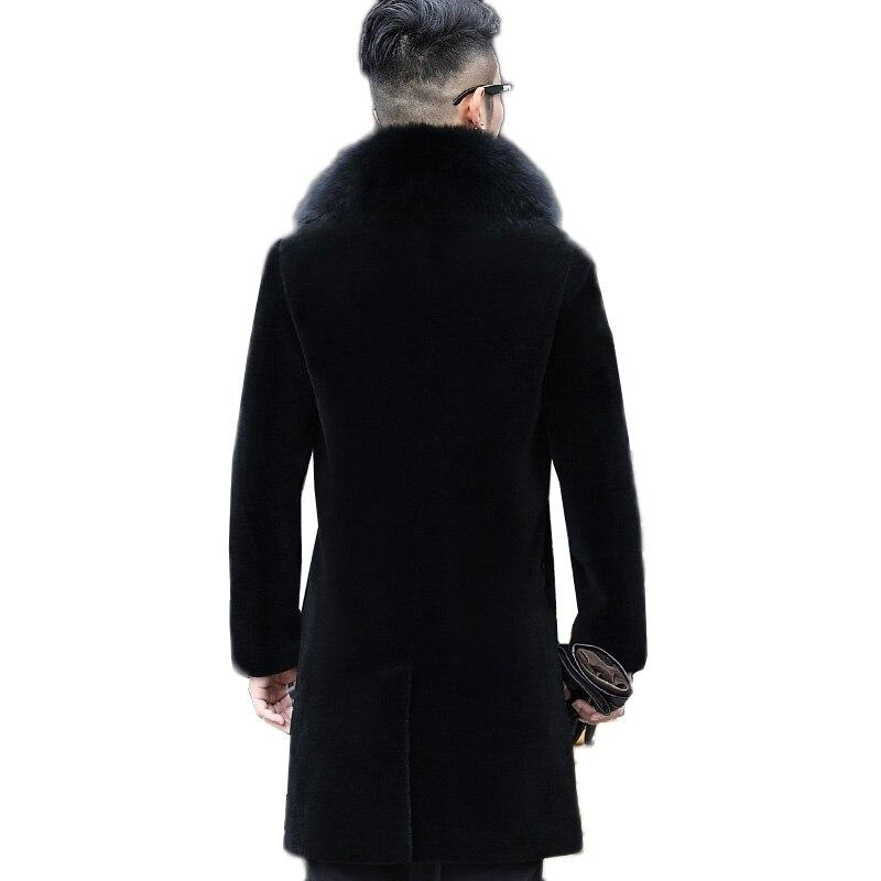 Longue Survêtement Hommes Fourrure En Grande Laine Des Renard Col N453 Seule Cuir Manteau Taille Noir Hiver Moutons Veste Black De D'une Pièce Véritable Tonte Ybgyf76