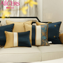 Avigers Patchwork Blue White Yellow Cushion Covers with Tassels Pillow Cases Luxury Home Decorative for Sofa Bedroom Living Room