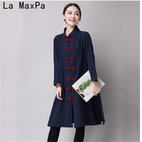 Free Style 2017 Autumn Chinese Tradition Casual Ladies Dress Ethnic Vintage Elegant Cotton Linen Long Sleeve Women dress