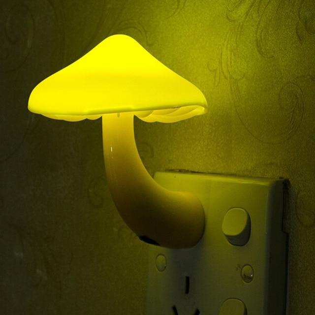 Yellow Night Lamp Mushroom Wall Socket Light Controlled Sensor Led Lights Bedroom Baby Auto Control 110 220v 0 2w