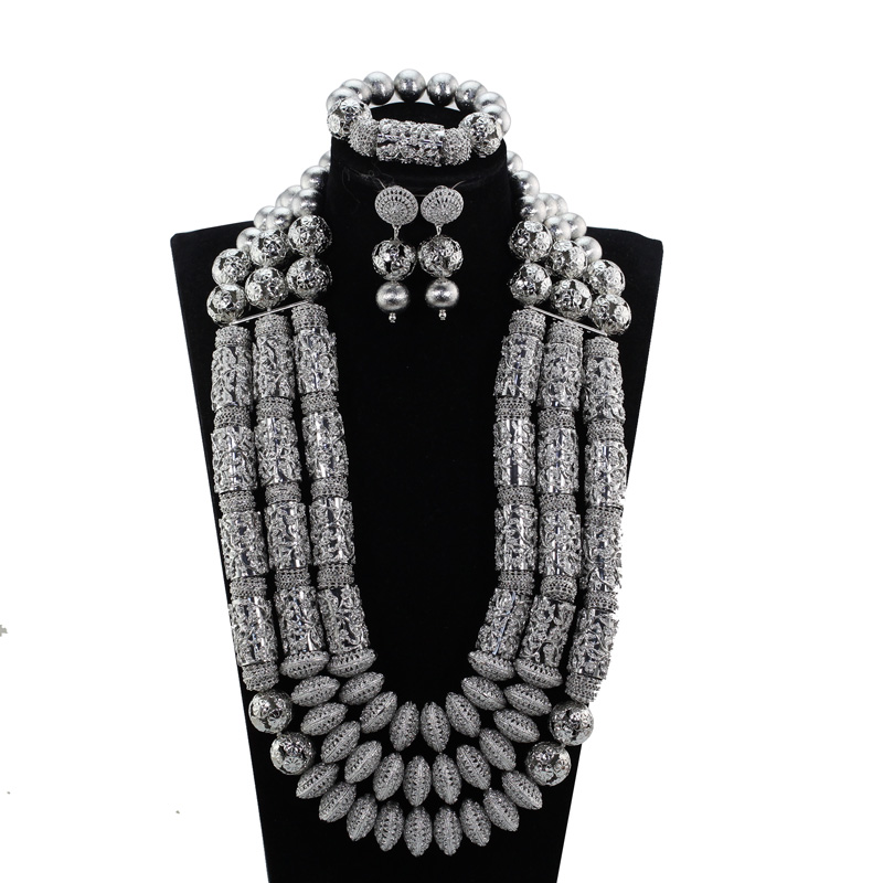 Fantastic Silver African Wedding Jewelry Set Copper Accessory Heavy Bold Statement Necklace Set Big Women Jewelry Set CL1101Fantastic Silver African Wedding Jewelry Set Copper Accessory Heavy Bold Statement Necklace Set Big Women Jewelry Set CL1101
