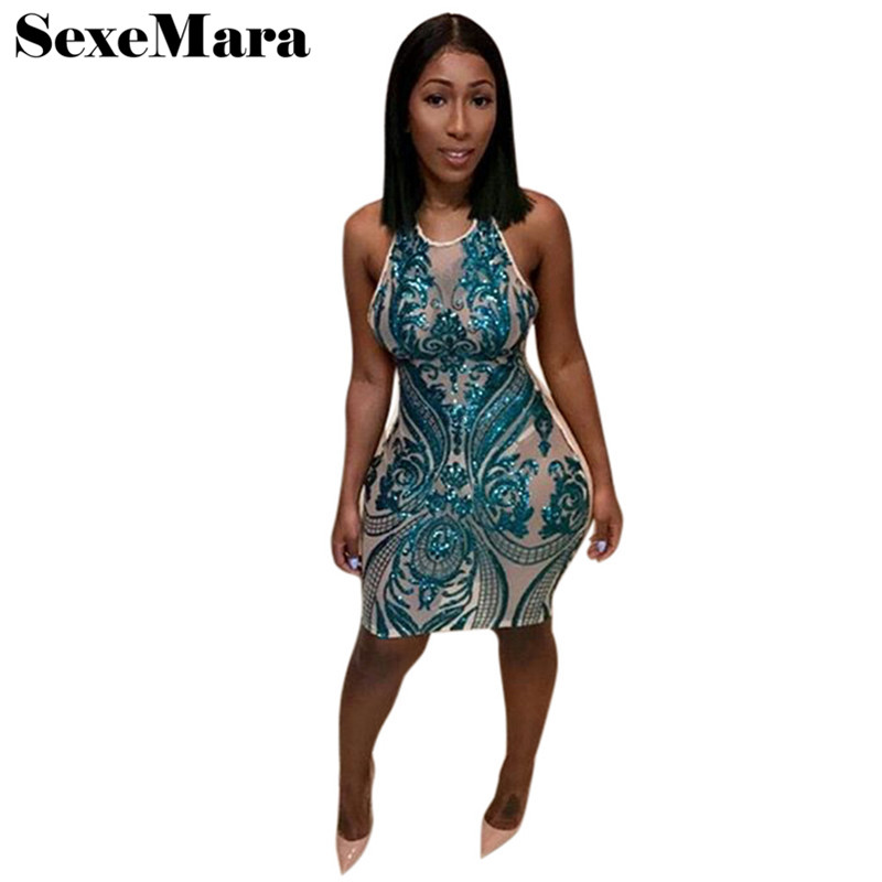 Buy Sexy see through white mesh sequin dress halter bodycon backless dress mini party dresses night club wear vestidos D29-AA76 for $13.06 in AliExpress store
