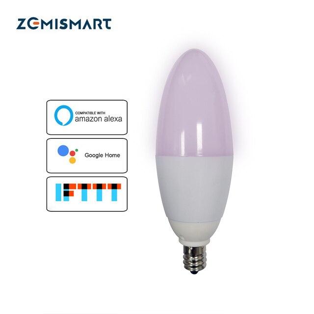 Zemismart E12 LED Candle Bulb Work with Amazon Alexa Google Home 2.4g WIFI Home Automation 5w Chandelier Light 110v-240v C35