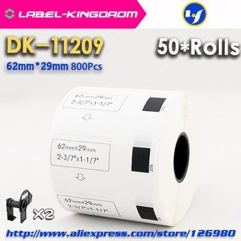 50 rollos de recarga compatibles DK-11209 etiquetas 62mm * 29mm 800 Uds. Compatibles con Brother Label Printer, papel blanco DK11209 DK-1209