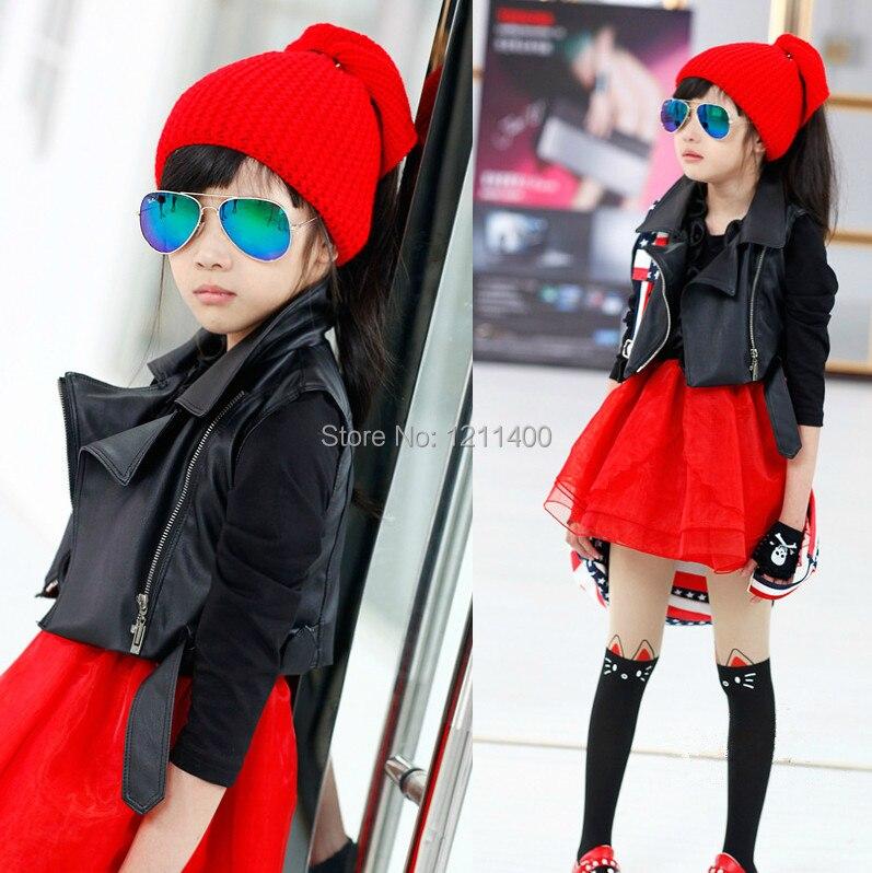 New autumn girls black lapel leather vest jacket kids clothing ...
