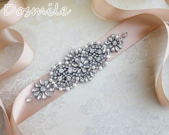 New Arrival Vintage Wedding waistband handmade pearl crystal beaded blush pink Bridal Sash Luxury bridal belt