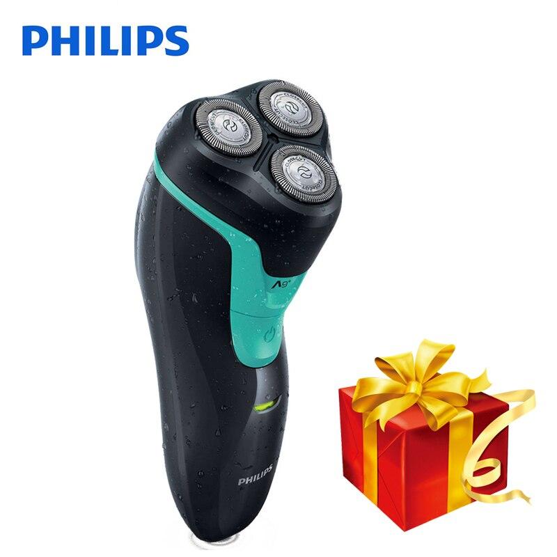 100% D'origine Philips rasoir Électrique FT658 Rechargeable Rotatif Avec 3D Têtes Flottantes Ni-MH Batterie Humide et Sec Rasage